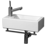 Whitehaus WH1-114LTB Isabella Basin with Chrome Towel Bar and Single Left Side Faucet Hole (WH1-114LTB)