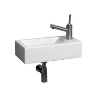 Whitehaus WH1-114R Isabella Rectangular Basin with Center Drain and Single Right Side Faucet Hole.