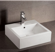 Whitehaus WHKN1059 Isabella Bath Basins Square Wall Mount Basin with Overflow (WHKN1059)