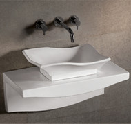 Whitehaus WHKN1078-1116 Isabella Bath Basins Rectangular Basin with Matching Wall Mount Counter Top.