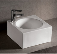 Whitehaus WHKN1093 Isabella Bath Basins Square Wall Mount Basin with Integrated Round Bowl (WHKN1093).