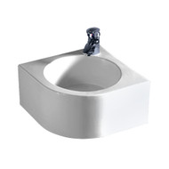 Whitehaus WHKN1094 Isabella Bath Basins Corner Square Wall Mount Basin with Integrated Round Bowl (WHKN1094)
