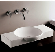 Whitehaus WHKN1112 Isabella Bath Basins Rectangular Above Mount Basin with an Integrated Round Bowl.