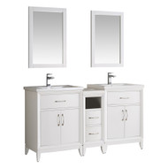 "Fresca Cambridge 60"" White Double Sink Traditional Bathroom Vanity w/ Mirrors"