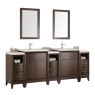 "Fresca Cambridge 84"" Antique Coffee Double Sink Traditional Bathroom Vanity"
