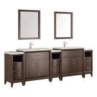 "Fresca Cambridge 96"" Antique Coffee Double Sink Traditional Bathroom Vanity w/ Mirrors"