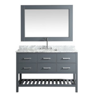 "Design Element London 54"" Single Sink Vanity Set in Gray w/ Carrara Marble Countertop"