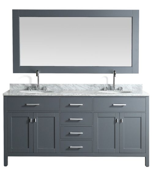 "London 72"" Double Sink Vanity Set in Gray Finish"