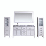 "Design Element London 72"" Double Sink Vanity Set in White w/ Two linen Cabinet"