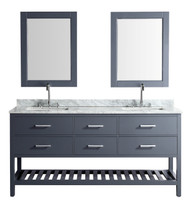 "London 61"" Vanity in Gray with Marble Vanity Top in Carrera White with White Basin and Mirror"