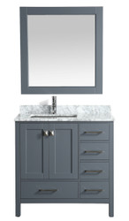 "London 36"" Vanity in Gray with Marble Vanity Top in Carrera White with White Basin and Mirror"