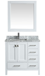 "London 36"" Vanity in White with Marble Vanity Top in Carrera White with White Basin and Mirror"