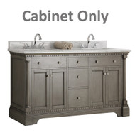 "Fresca Kingston 60"" Antique Silver Double Sink Traditional Bathroom Cabinet Only"