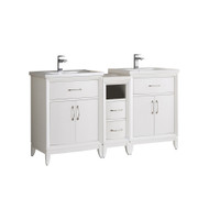 "Fresca Cambridge 60"" White Double Sink Traditional Bathroom Vanity - No Mirrors"