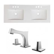 "American Imaginations Ceramic Top Set in White Color w/ 8"" o.c. CUPC Faucet"