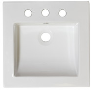 "American Imaginations 21.5""W x 17.75""D Nikki Ceramic Top Set in White Color w/ 8"" o.c. CUPC Faucet 