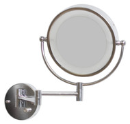 """American Imaginations 20.83"""" W Round Brass-LED Wall Mount Magnifying Mirror in Chrome Color"""