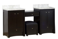American Imaginations Birch Wood-Veneer Vanity Set in Distressed Antique Walnut
