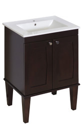 "American Imaginations Roxy 24"" Birch Wood-Veneer Single Sink Vanity Set in Antique Walnut w/ Single Hole CUPC Faucet"