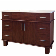 "American Imaginations Alum 48"" Birch Wood-Veneer Single Sink Vanity Set in Antique Cherry"