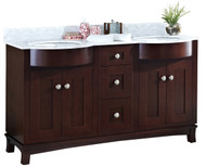 "American Imaginations Tiffany 60"" Birch Wood-Veneer Double Sink Vanity Set w/ Bianca Carara Top in Coffee 