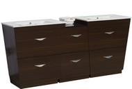 "American Imaginations Vee 62"" Plywood-Melamine Double Sink Vanity Set in Wenge 