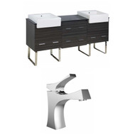 "American Imaginations Xena Farmhouse 74"" Plywood-Melamine Double Sink Vanity Set w/ Single Hole Faucet in Dawn Grey"