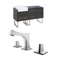"American Imaginations Xena Farmhouse 61"" Plywood-Melamine Single Sink Vanity Set w/ 8"" o.c. CUPC Faucet in Dawn Grey"