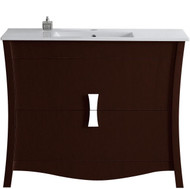 "American Imaginations Bow 48"" Birch Wood-Veneer Single Sink Vanity Set in Coffee"