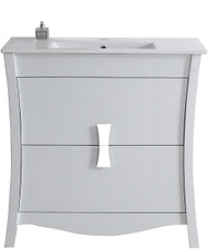 "American Imaginations Bow 36"" Birch Wood-Veneer Single Sink Vanity Set in White"