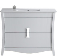 American Imaginations Birch Wood-Veneer Vanity Set in White