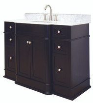 "American Imaginations 49"" W x 21"" D Transitional Birch Wood-Veneer Vanity Base Only in Dark Mahogany"