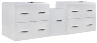 "American Imaginations 60.5"" W x 18"" D Modern Wall Mount Plywood-Veneer Vanity Base Only in White"