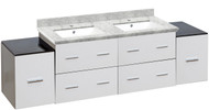 """American Imaginations 74.5"""" W x 18"""" D Modern Wall Mount Plywood-Melamine Vanity Base Only in White"""