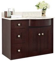 "American Imaginations Tiffany 36.25"" W x 21"" D Transitional Wall Mount Birch Wood-Veneer Vanity Base Only in Coffee"