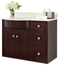 "American Imaginations 36.25"" W x 21"" D Transitional Wall Mount Birch Wood-Veneer Vanity Base Only in Coffee"