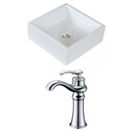 American Imaginations Square Vessel Set in White Color w/ Deck Mount CUPC Faucet