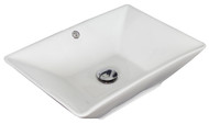 """American Imaginations 22""""W x 14.75""""D Above Counter Rectangle Vessel Set In White Color w/ Deck Mount CUPC Faucet"""