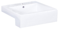 "American Imaginations 20.25"" W x 19"" D Semi-Recessed Rectangle Vessel in White Color for Single Hole Faucet"