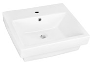 """American Imaginations 20.5"""" W x 18.5"""" D Semi-Recessed Rectangle Vessel in White Color for Single Hole Faucet"""