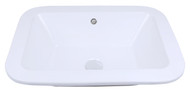 """American Imaginations 21.75"""" W x 16"""" D Drop in Rectangle Vessel in White Color for Deck Mount Faucet"""