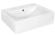 """American Imaginations 20.25"""" W x 16.25"""" D Above Counter Rectangle Vessel in White Color for 8"""" o.c. Faucet"""