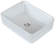 """American Imaginations 18.75"""" W x 14.75"""" D Above Counter Rectangle Vessel in White Color for Deck Mount Faucet"""