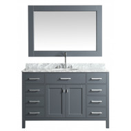 "Design Element London 54"" Single Sink Vanity Set in Grey with White Carrera Marble Top"