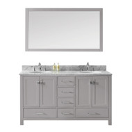 "Virtu USA Caroline Avenue 60"" Double Bathroom Vanity in Cashmere Grey w/ Marble Top & Round Sink w/ Mirror"