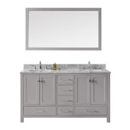 "Virtu USA Caroline Avenue 60"" Double Bathroom Vanity in Cashmere Grey w/ Marble Top & Square Sink w/ Mirror"