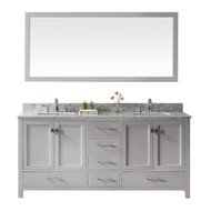 "Virtu USA Caroline Avenue 72"" Double Bathroom Vanity in Cashmere Grey w/ Marble Top & Square Sink w/ Mirror"