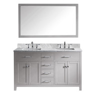 "Virtu USA Caroline 60"" Double Bathroom Vanity in Cashmere Grey w/ Marble Top & Square Sink w/ Mirror"