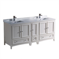 """Fresca Oxford 72"""" Antique White Traditional Double Sink Bathroom Cabinets w/ Top & Sinks"""