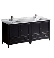 "Fresca Oxford 72"" Espresso Traditional Double Sink Bathroom Cabinets w/ Top & Sinks"